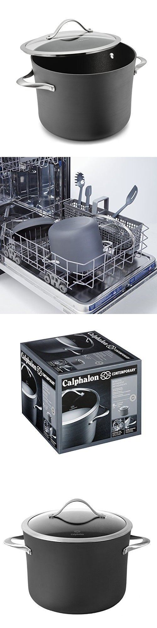 Calphalon Contemporary Hard-Anodized Aluminum Nonstick Cookware, Stock Pot, 8-quart, Black