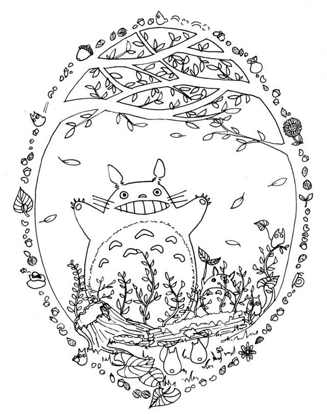 Do You Love To Watch My Neighbor Totoro Then This Coloring Sheet Is For You And Your Little One This Coloring Page Is Fo Totoro Art Ghibli Art Coloring Pages