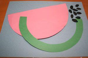 preschool construction paper crafts: fruits   watermelon craft for kids