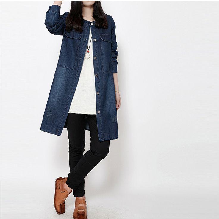 Fashion Woman Vintage Slim Long Denim Trench Coats Jeans Single Breasted With Pocket jean Windbreaker Outwear