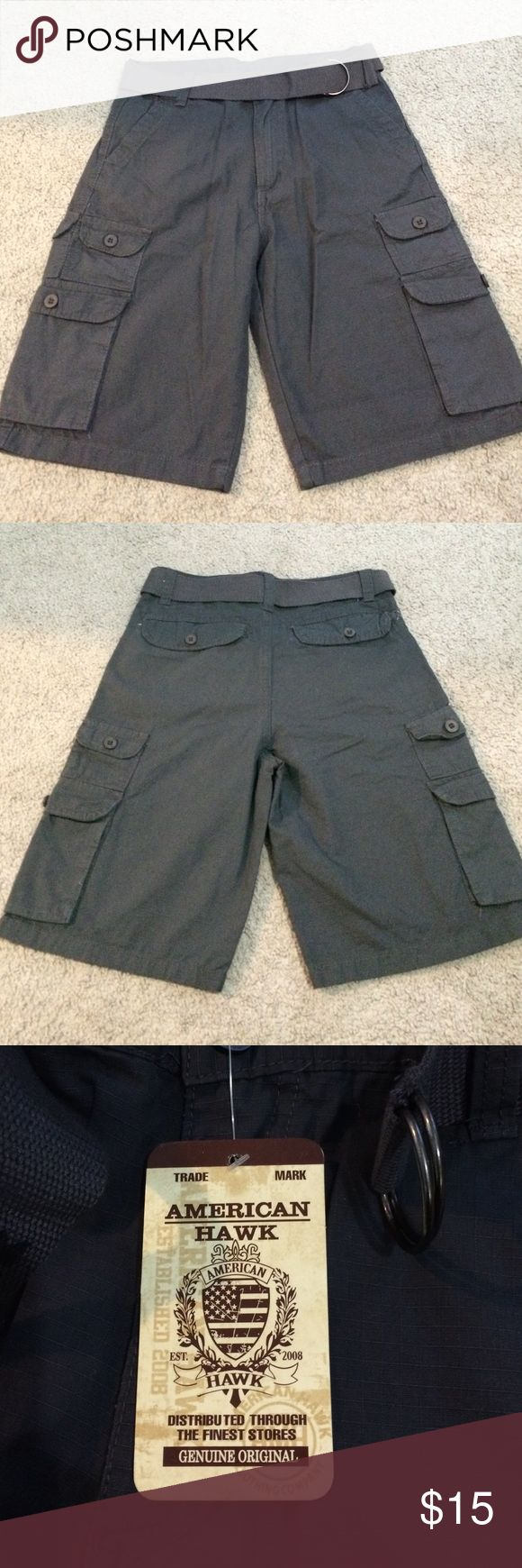 American Hawk Boys Cargo Shorts - NWT Gray boys cargo shorts from American Hawk. Will come with the belt shown. Great condition! 🚫 No Trades 🚫 No Lowball Offers 🚫 Remember...Posh Takes A Fee ❤️ American Hawk Bottoms Shorts