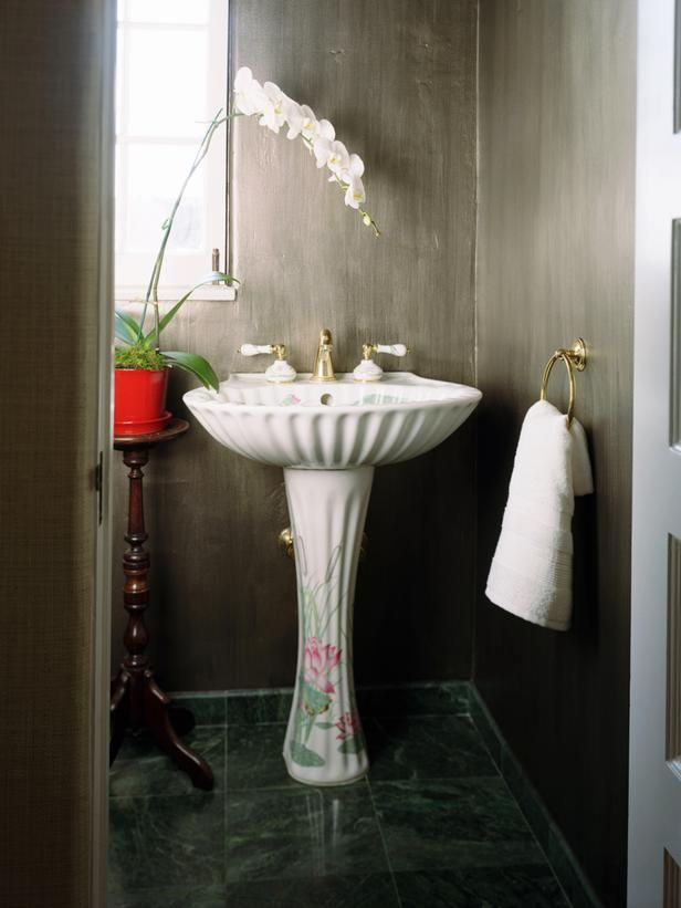 Don't forget the half bath! Make a big statement in this small space with an ornate pedestal.: Bathroom Design, Small Bathroom, Modern Bathroom, Mediterranean Bathroom, Pedestal Sinks, Stylish Bathroom, Bathroom Ideas, Contemporary Bathroom, Powder Rooms