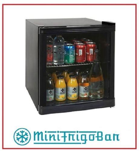Mini-Frigo-con-Anta-in-Vetro-Bar-Vetrinetta-per-Bibite-Vetrina-Nero-da-Porta-x