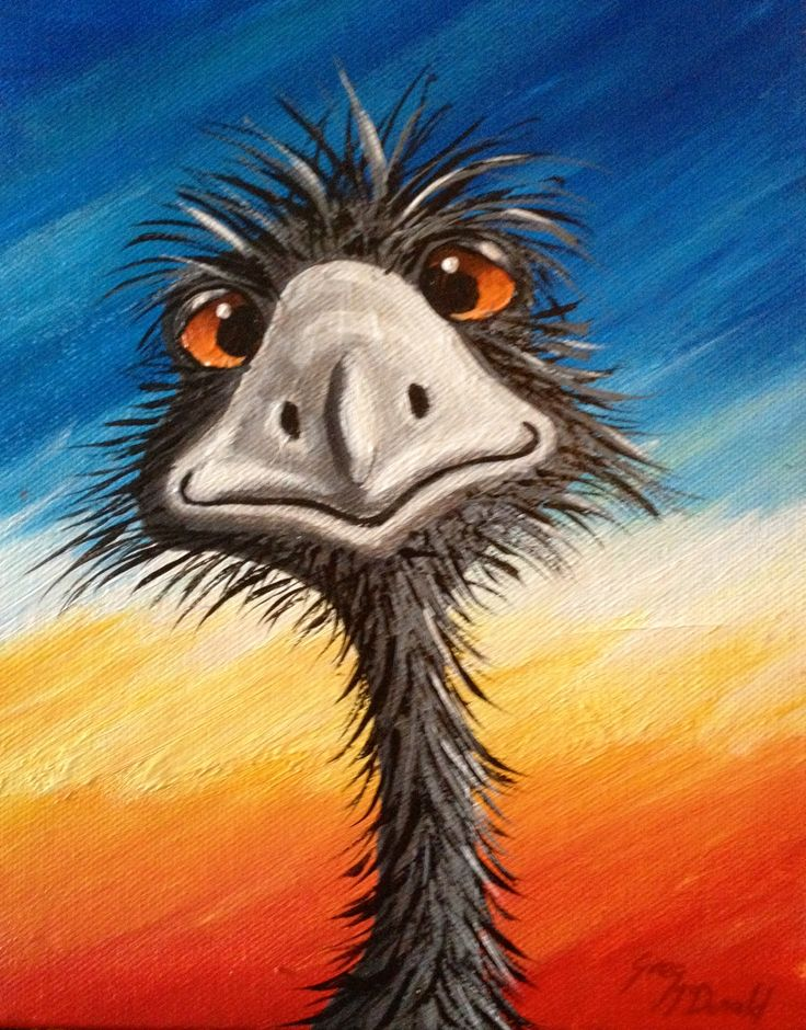 Emu From The Bluff $89.00 Acrylic Painting For Sale Australia This original painting for sale, is of a happy Emu in a bright and vivid Ausssie desert colours. Acrylic on Canvas.