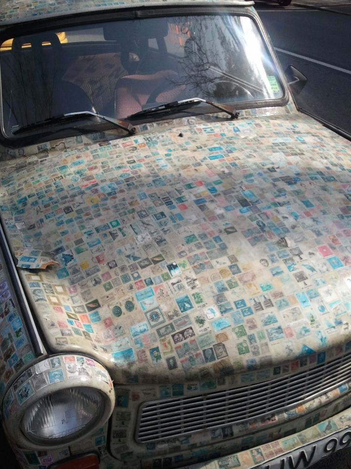 car covered in stamps