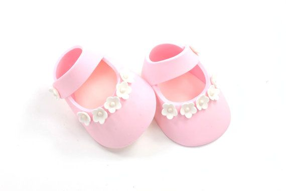 Baby Shoes Cake Topper Pink Sugar Paste with White by lilsculpture