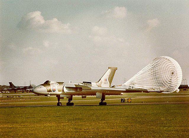 RAF Avro Vulcan XM603 streaming it's braking parachute at RAF Waddington in 1979