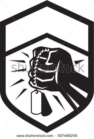 Illustration of a clenched fist clutching holding dog tag set inside shield crest done in black and white retro style.  #dogtag #retro #illustration