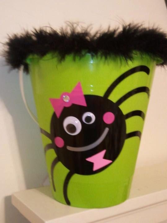 Halloween bucket Custom Made Kids Halloween Buckets Spider Halloween bucket Girls halloween bucket by KrazyKraftz on Etsy, $12.00