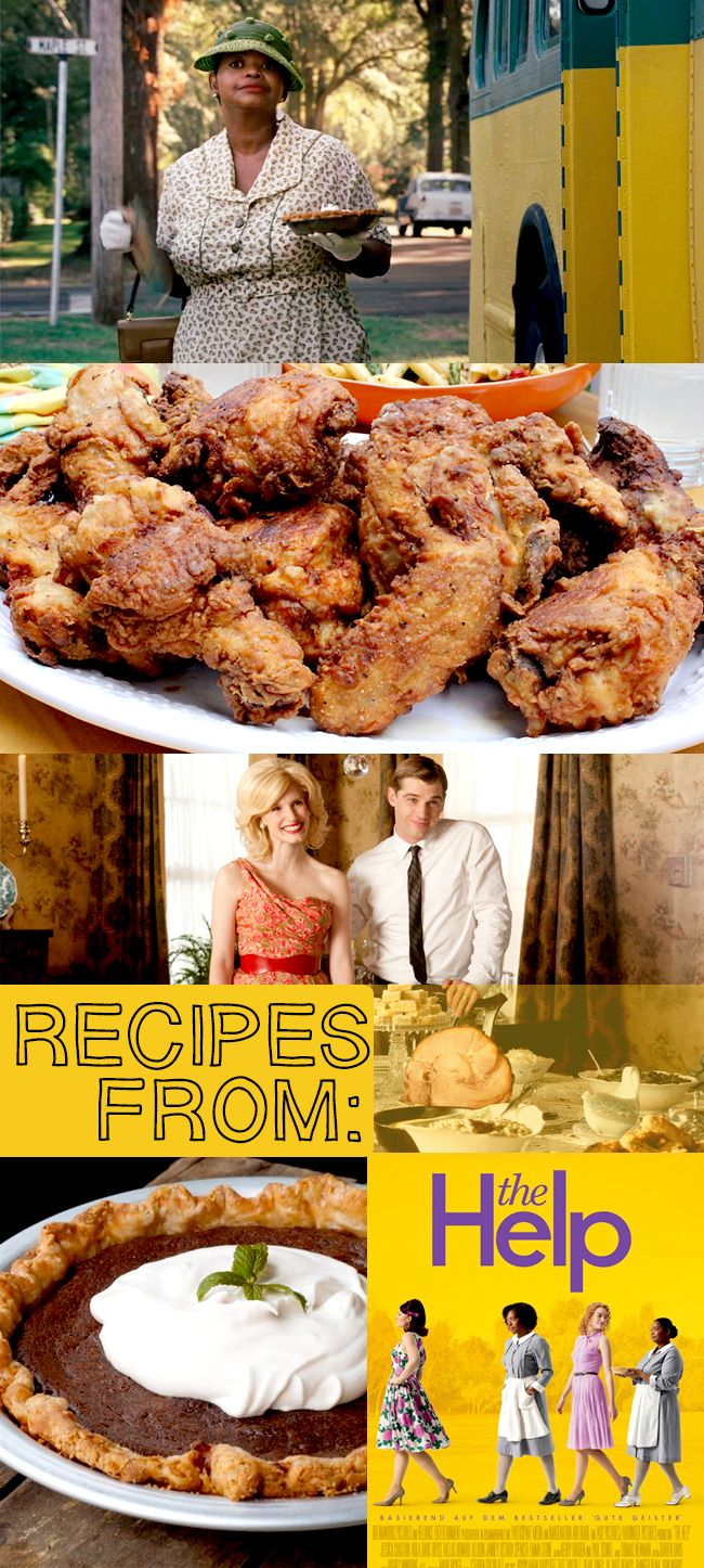 Recipes and movie food from The Help!  Tips for throwing a great viewing party of the film - includes Minny's fried chicken and chocolate pie, fried okra, butter beans, sweet tea, ambrosia salad, and all kinds of southern goodies.