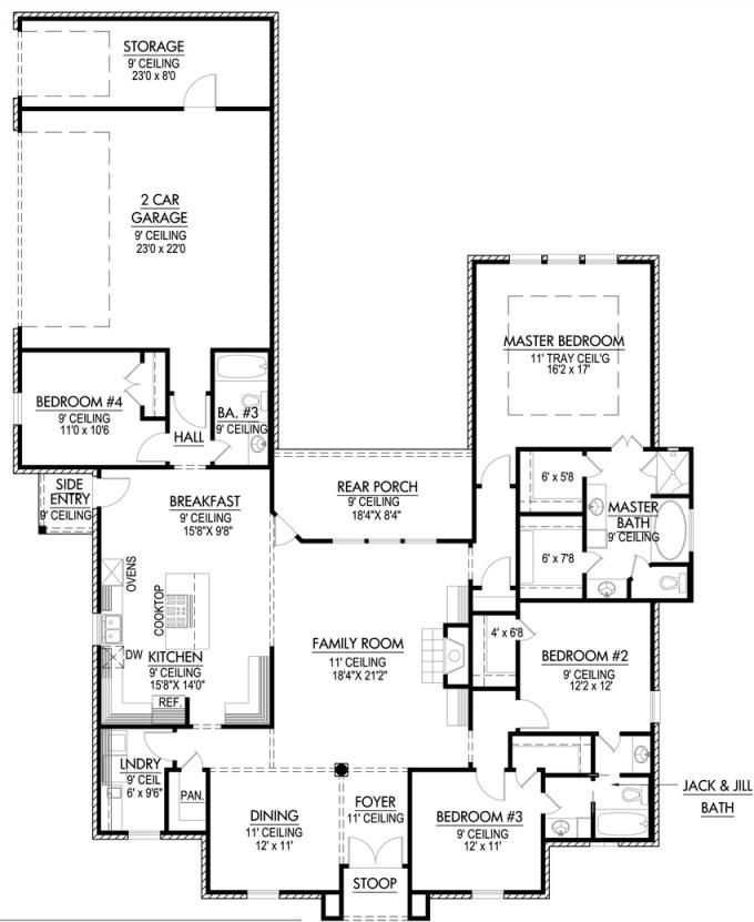 #653667 - French Acadian four bedroom with many extras : House Plans, Floor Plans, Home Plans, Plan It at HousePlanIt.com