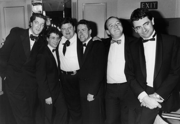 From left to right, the cream of British comedy - Stephen Fry, Ben Elton, Robbie Coltrane, Griff Rhys-Jones, Mel Smith and Rowan Atkinson, circa 1990.