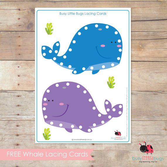 Tarjetas para aprender a coser Ballenas // WHALE LACING CARDS