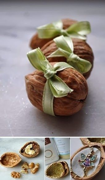 Gift wrapping idea - tiny gifts, like a necklace pendant can be wrapped in shelled walnuts!  How original (Just make sure the person is not allergic to Nuts!!!!!)
