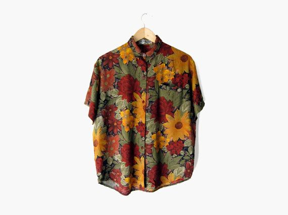 Sunflower Rose Button Down, Vintage c. 1990s / from SPADRA's on Etsy || nineties / black / green / red / maroon / mustard yellow / dark floral / short sleeve / button up / slouch top / collared shirt / hipster clothing / grunge style / 90s fashion