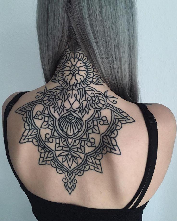 Mandala geometric back tattoo by friedrichuebler