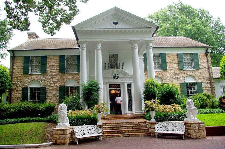 1939 Graceland Mansion - Home of Elvis Presley - Memphis TN - Built by Dr. Thomas & Ruth Moore who named it Graceland in honor of a family member. Neoclassical mansion often described as Classical Revival or Colonial Revival in style. Purchased by Elvis in 1957
