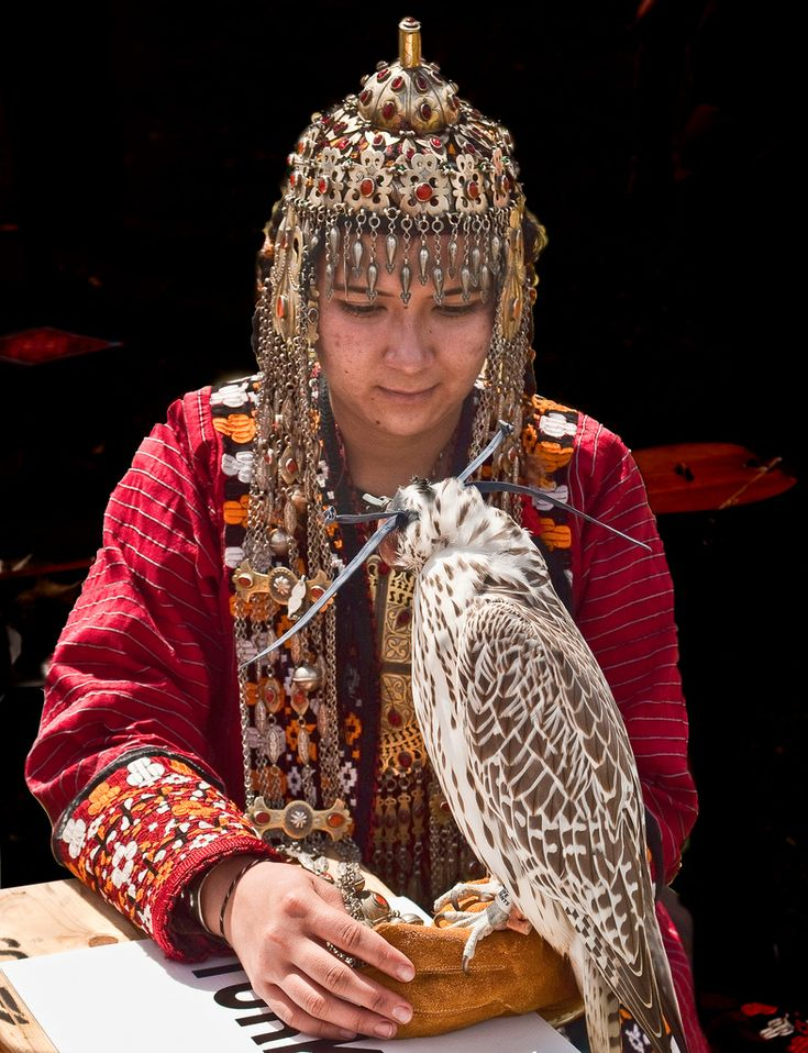 Lady falconer from Turkmenistan, Central Asia