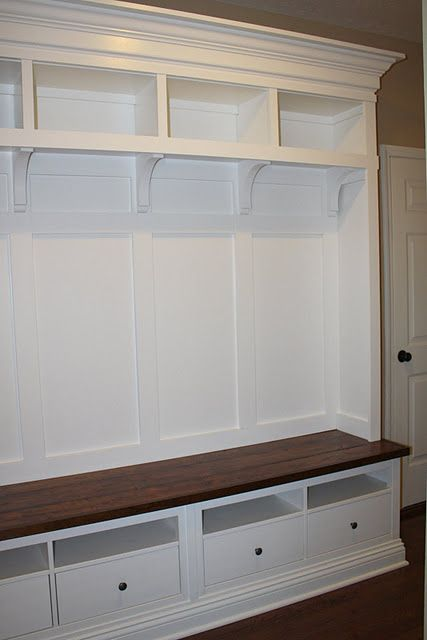 Custom mudroom storage unit made from two Hemnes TV consoles from IKEA.