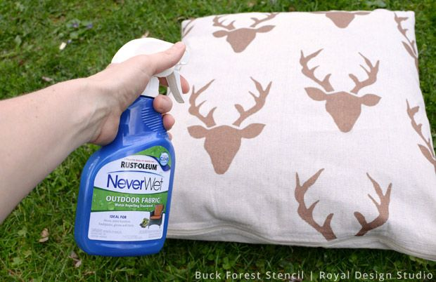 DIY Outdoor Pillows from Drop Cloth: Susan gives step by step instructions oh how to make outdoor pillows from drop cloths. Using stencils you can make so many different colors, designs and patterns to match your outdoor decor. Don't forget to finish it up with Rust-Oleum's NeverWet Outdoor Furniture to keep them water resistant and help them survive the elements for much longer!