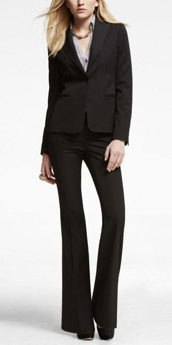Women: In a formal interview, try the classic black suit look.