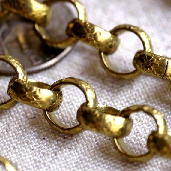 Textured Chain Round Link Brass Chains Rolo chains 8x8mm by Goshen, $26.30