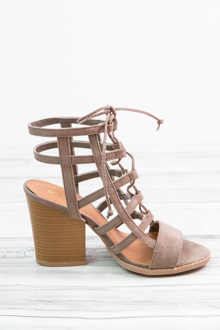 """Your night out just got a lot more stylish thanks to our Barnes Cage Heel by Quipid. This faux suede 3.5"""" heel has a comfortable, adjustable lace up front. Pair these shoes with skinny jeans or your f"""