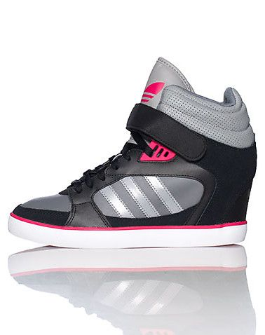 adidas Mid top womens wedge sneaker Lace up closure with velcro strap Signature triple adidas stripe... True to size. Leather and synthetic materials. Black G95642.