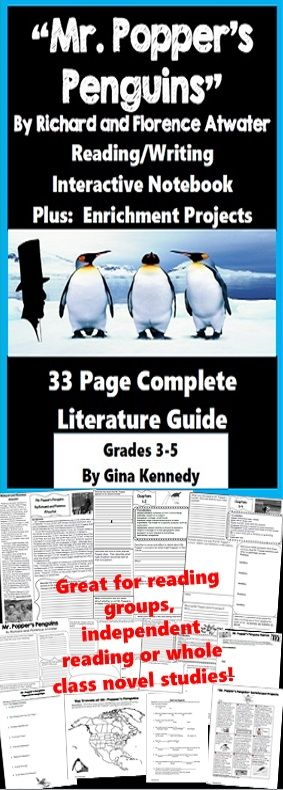 """Mr. Popper's Penguins"" no-prep standards based interactive notebook complete unit with follow-up ""Mr. Popper's Penguins"" reading response activities for every chapter as well as ""Mr. Popper's Penguins"" enrichment projects! Easy engaging way to use this award winning novel by Richard and Florence Atwater in your classroom while encouraging critical reading skills.  Everything you need to use this novel in your classroom effectively is included with this resource.$"
