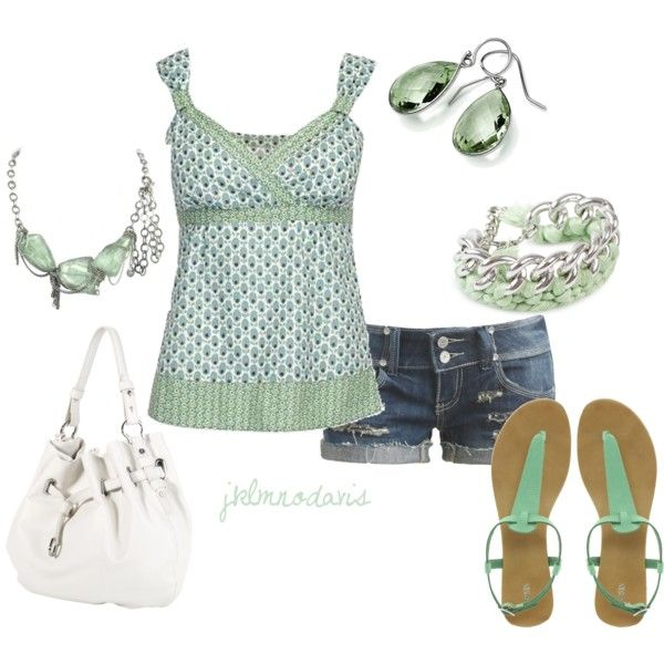 """""""Green & White"""" loveFashion, Summer Outfit, Bracelets, Polyvore, Clothing Shoes Outfit And, Cute Outfit, Jeans Shorts, Shades Of Green, Dreams Closets"""