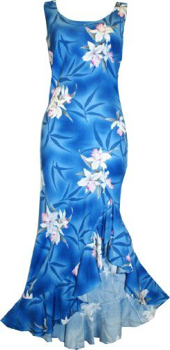 You will love Dancing in this Two Palms Long Hawaiian Midnight Orchid in Blue  So fun and pretty!