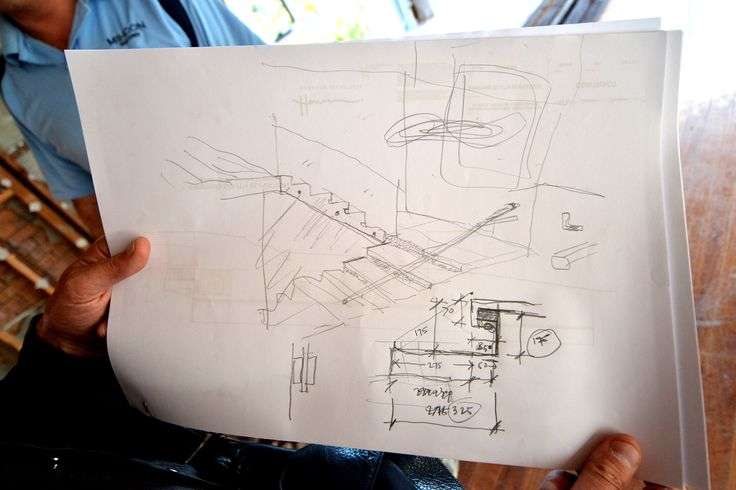 Design amendment sketched by architect while onsite.