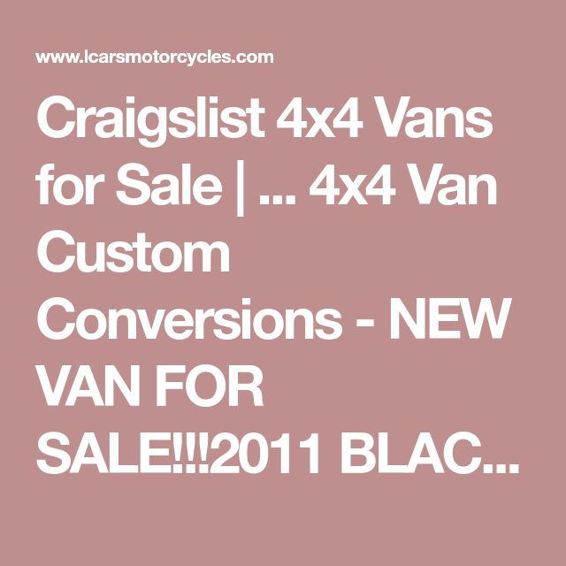 Craigslist Cars Vans – Jerusalem House