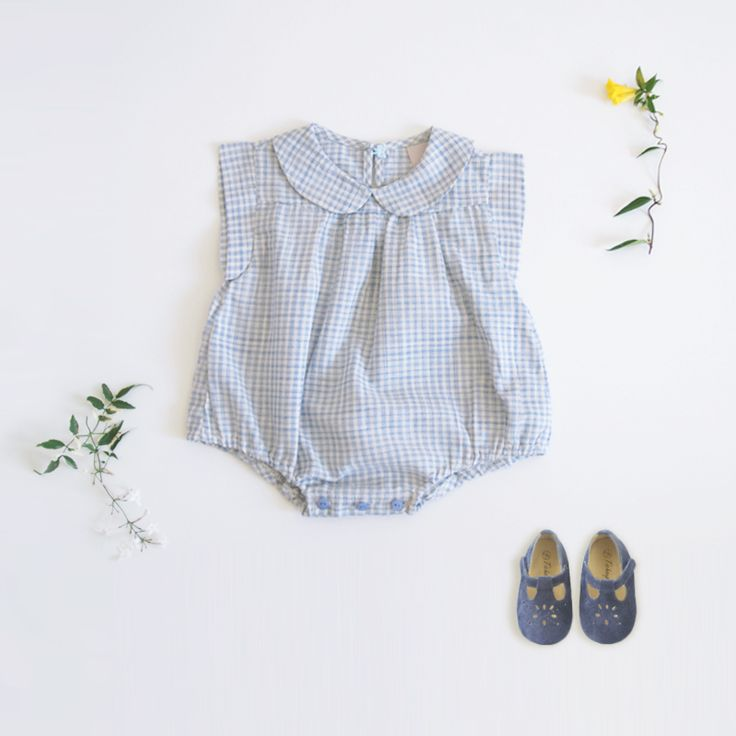 Baby checked romper
