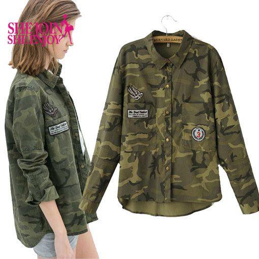 1 092,19 руб. Мода с длинным рукавом chaqueta militar mujers женщины зеленый военные куртки тонкий вышитые женщин куртка блузки пальто C13113 купить на AliExpress