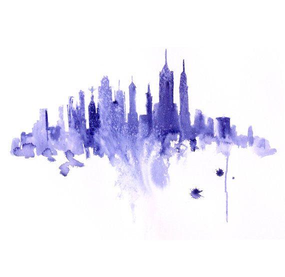 Watercolor New York: New York City Abstract ART PRINT 13X19 Original Watercolor