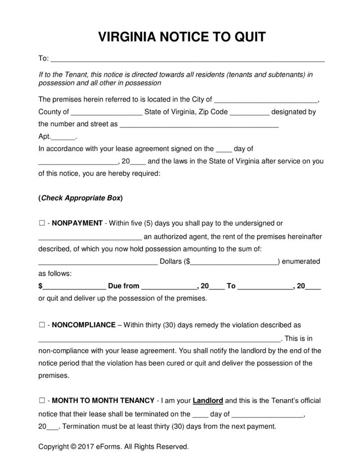Free Virginia Eviction Notice Forms | Process and Laws - PDF | Word | eForms – Free Fillable Forms