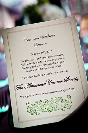 donation wedding favor