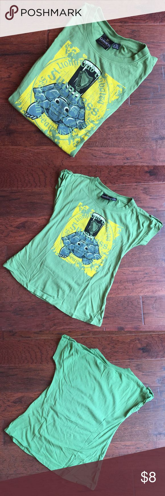 Guinness Tee with Turtle Guinness - Tee - Green with Turtle - Short Sleeves with Button up option - Worn Once - Size 8/10 Girls - Fits like an XS Juniors of XL Girls - Smoke Free Home Shirts & Tops Tees - Short Sleeve