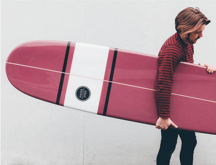 watershed surfboards / pink longboard