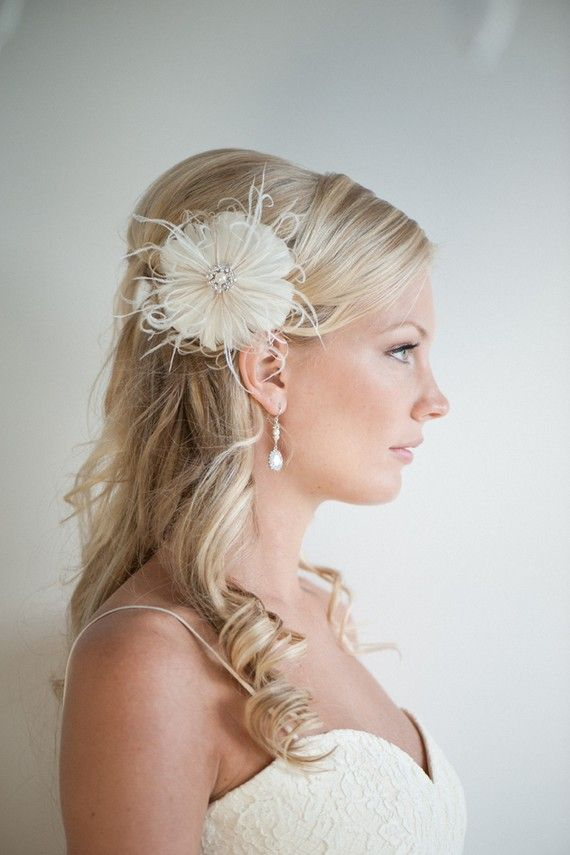 wedding hair accessory feather hair clip wedding fascinator bridal feather headpiece ivory and light gold simone