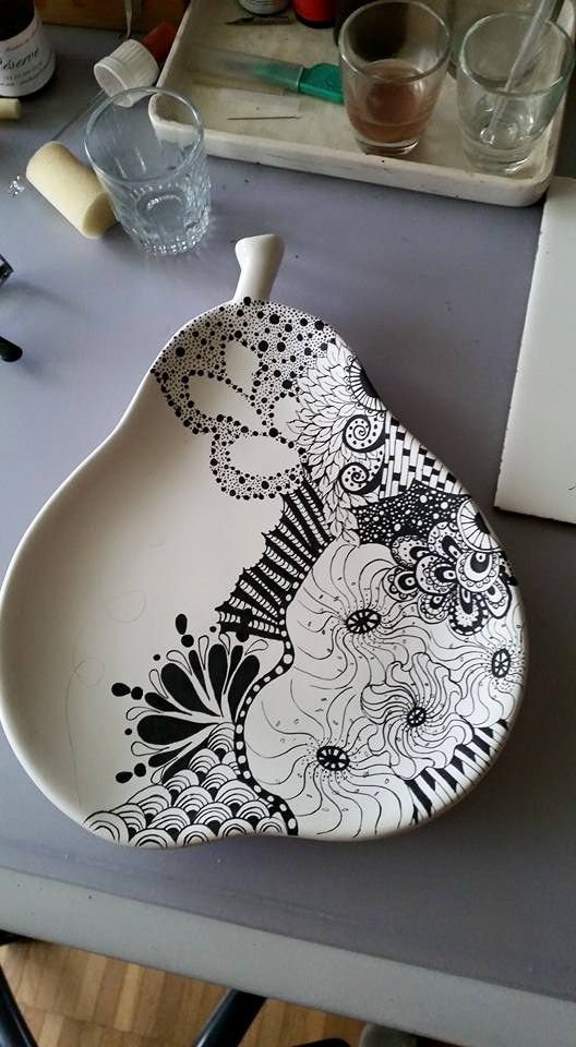 Pear shaped painted platter
