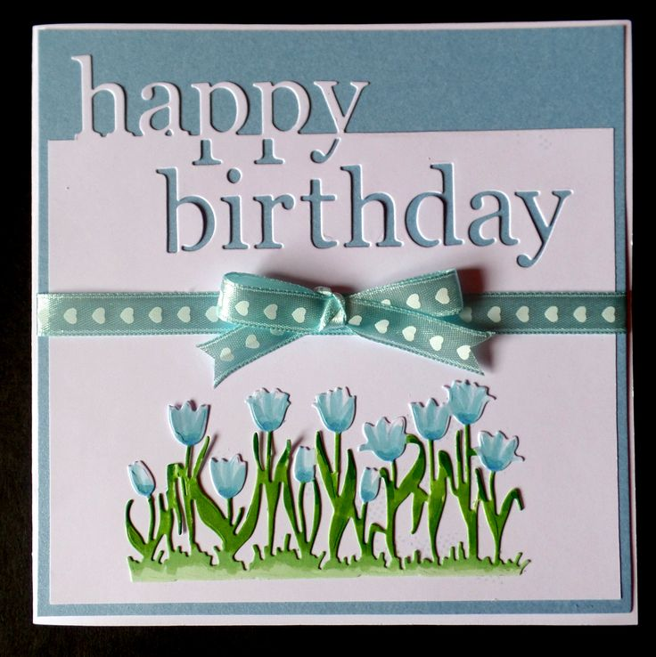 S025 - Hand Made Birthday Card using Memory Box Happy Birthday and Craft Emotions Tulip Border