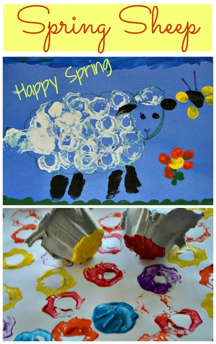 Printed sheep in a spring scene. Fun printing for toddlers