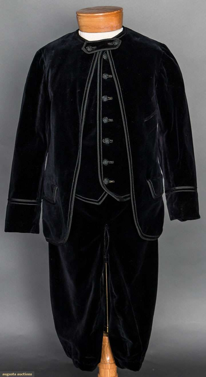 "3 piece boy's suit, 1860-1880.  Black velvet jacket, knickers and vest, all trimmed in black silk soutache, Ch 26"", Jacket L 19"", W 26"", Knickers' Inseam 11"""