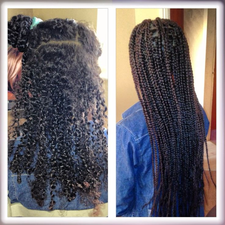 Box braids. Before and after. Box Boho Braids