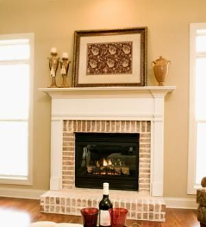 Red brick fireplaces white mantel and brick fireplaces on for Brick fireplaces designs ideas