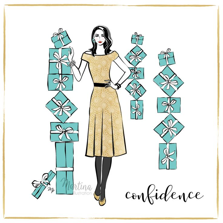Stylish Advent Calendar DAY 13  I wish you CONFIDENCE  Self confidence is of the the best qualities a person can have. It is silent, yet powerful. If you see how awesome you are yourself, others will see it too. Because confidence is something you create within yourself by believing in who you are. And feeling beautiful without needing someone to tell you so   stylish fashion illustration