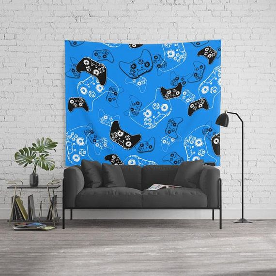 Gamer Blue Tapestry, Gamer Room Tapestry, Gamer Gifts, Video Game Decor Wall Tapestry, Gaming Decor Wall Hanging, Gamer Birthday Party