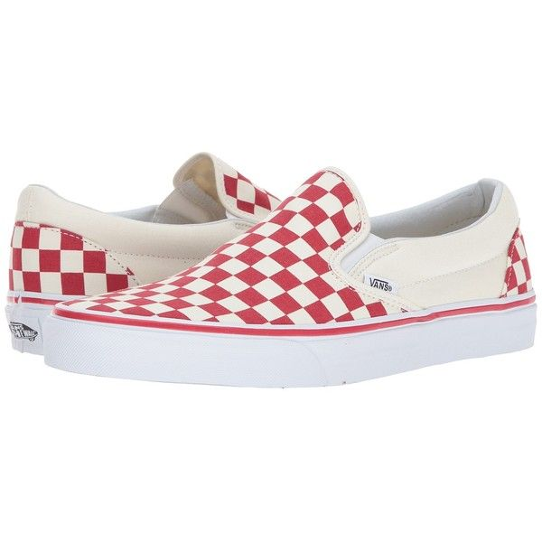 Vans Classic Slip-On ((Primary Check) Racing Red/White) Skate Shoes ($55) ❤ liked on Polyvore featuring shoes, sneakers, red sneakers, white leather sneakers, skate shoes, white sneakers and slip-on sneakers